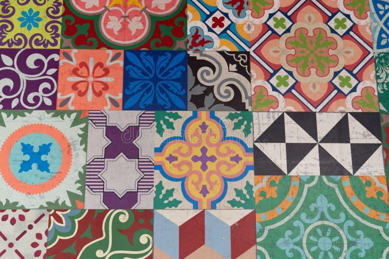 Portuguese glazed tiles handmade floor tile stock photography