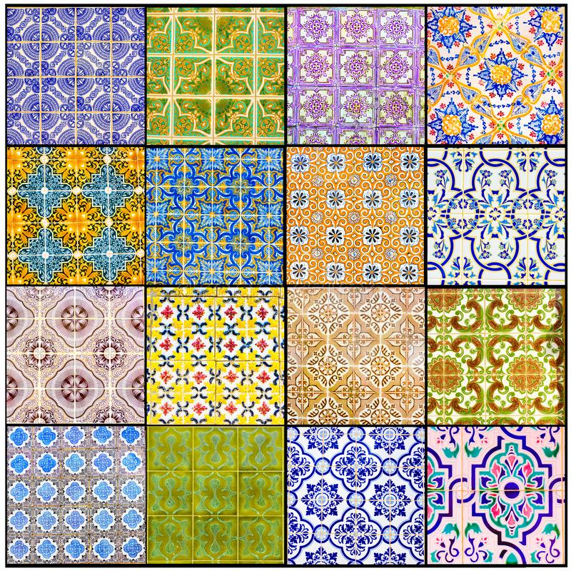Portuguese Glazed Tiles Collage, Beautiful Old Azulejos, Portugal Street Art, Handmade, Vibrant Colors, Textures stock photography