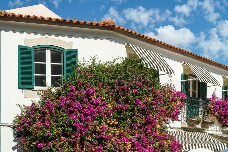 Portuguese House Decorated With Purple Flowers And Plants stock photo