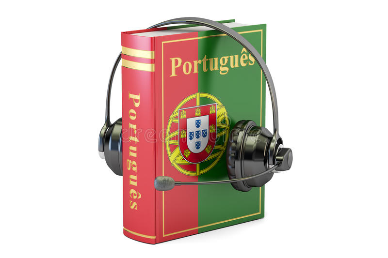 Portuguese language textbook with headset, learning and translate concept. 3D rendering royalty free illustration
