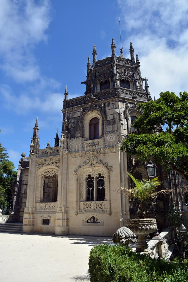 Portuguese mysterious, unique, popular and romantic palace. Quinta da Regaleira. Sintra. Portugal. Exterior famous sight gothic stock photo