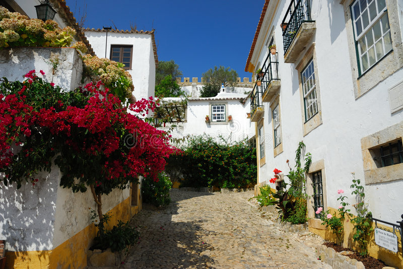 Portuguese narrow street royalty free stock images