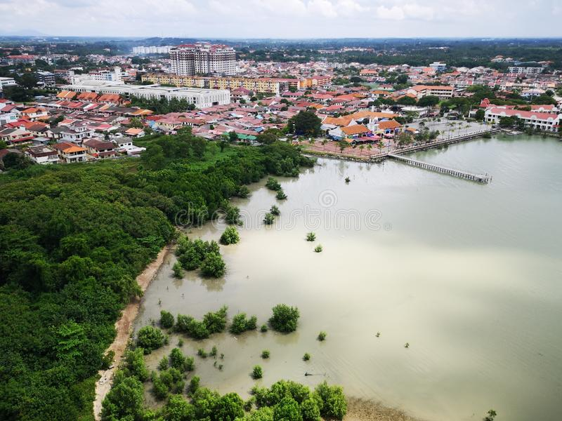 Portuguese Quarter in Malacca, Malaysia. Seen from above with tropical vegetation stock photography