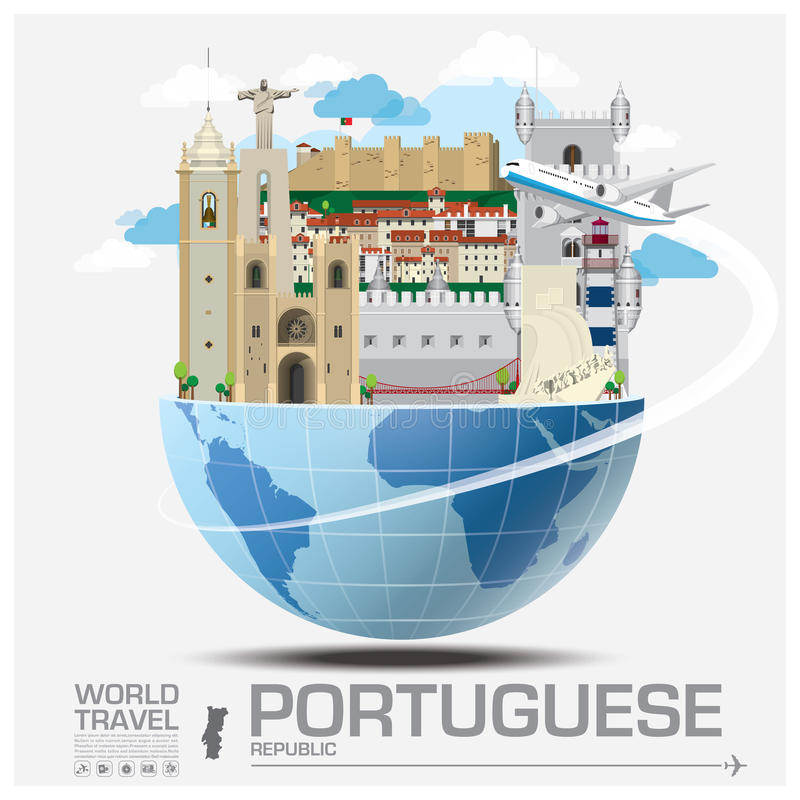 Portuguese Republic Landmark Global Travel And Journey Infographic royalty free illustration
