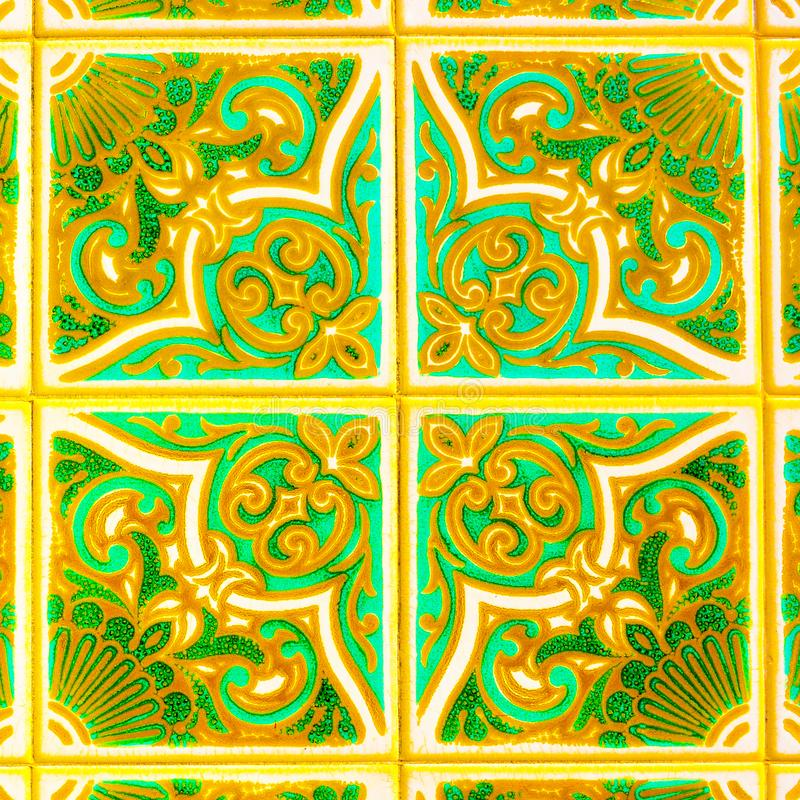 Portuguese Retro Glazed Tiles with Geometrical Pattern, Handmade Azulejos, Portugal Street Art, Abstract Background. Portuguese handmade glazed tiles. Hand stock photography