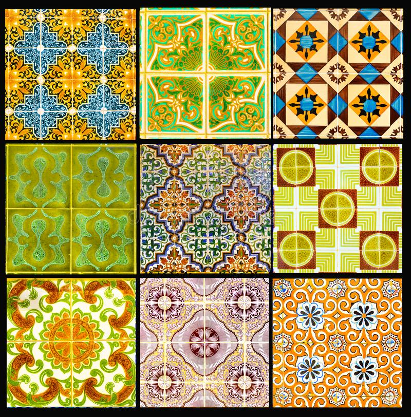 Portuguese Tiles with Retro Geometrical Pattern, Glazed Handmade Azulejos, Portugal Street Art, Patchwork stock images