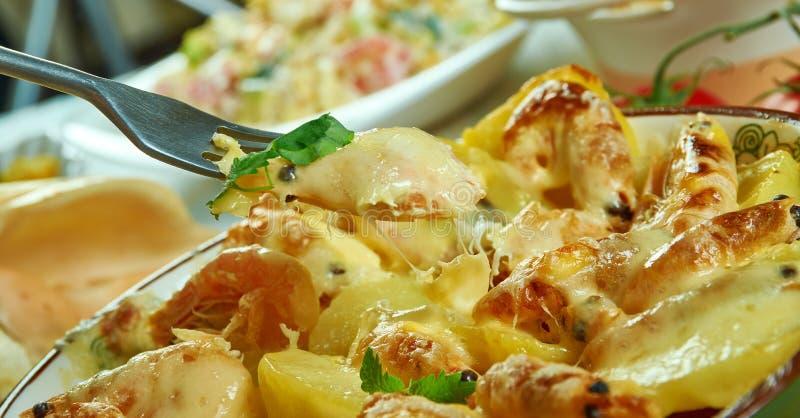 Portuguese Shrimp  Potato Gratin. De batatas gratinadas com camarao royalty free stock photo