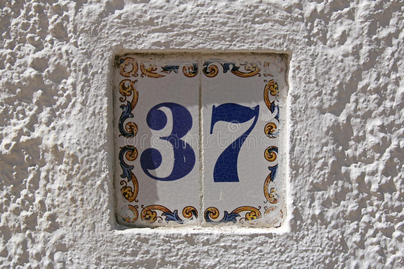 Portuguese street number 37 stock images