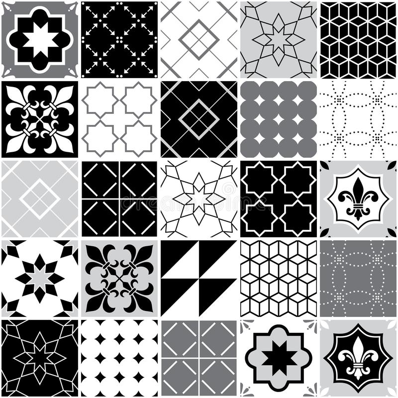 Portuguese tiles Azulejos, seamless vector tile pattern, geometric and floral design - black, white and grey patchwork royalty free illustration