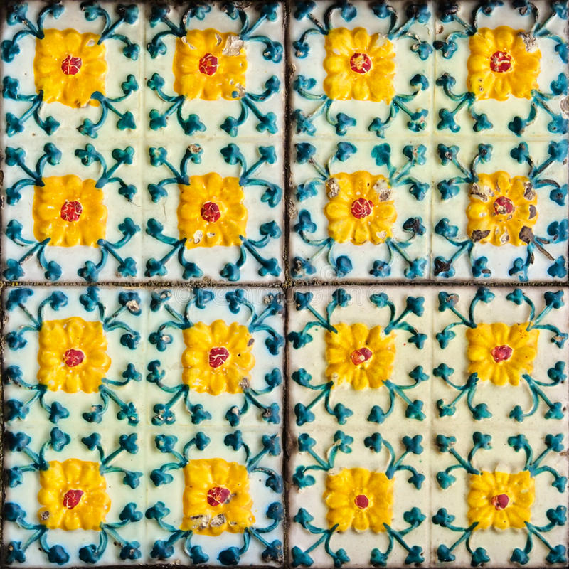 Portuguese Tiles. Portuguese Ceramic Tiles - Houses built in a traditional style are covered with such decoration royalty free stock images