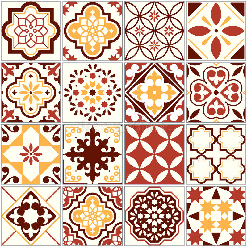 Portuguese tiles, Lisbon art pattern, Mediterranean seamless ornament in brown and yellow royalty free illustration