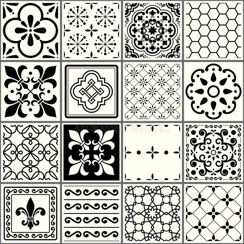Designer White Abstract Ceramic Wall Tile Pack Of 8 L: Portuguese Tiles Pattern, Lisbon Seamless Black And White