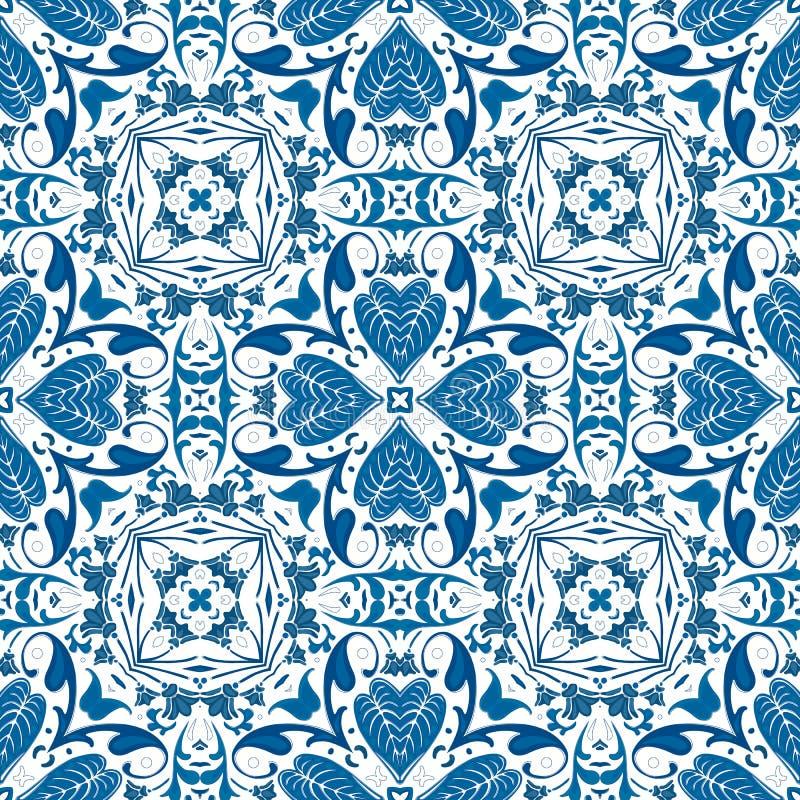 Portuguese tiles. Seamless pattern illustration in blue - like Portuguese tiles royalty free illustration