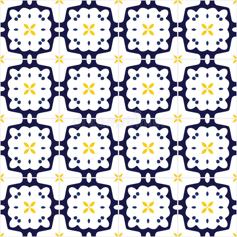 Portuguese tiles. Seamless pattern illustration in traditional style - like Portuguese tiles stock illustration