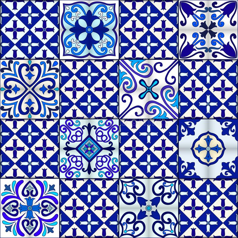 Portuguese tiles seamless pattern vector with blue and white ornaments. Talavera, azulejo, mexican, spanish or arabic motifs. stock illustration