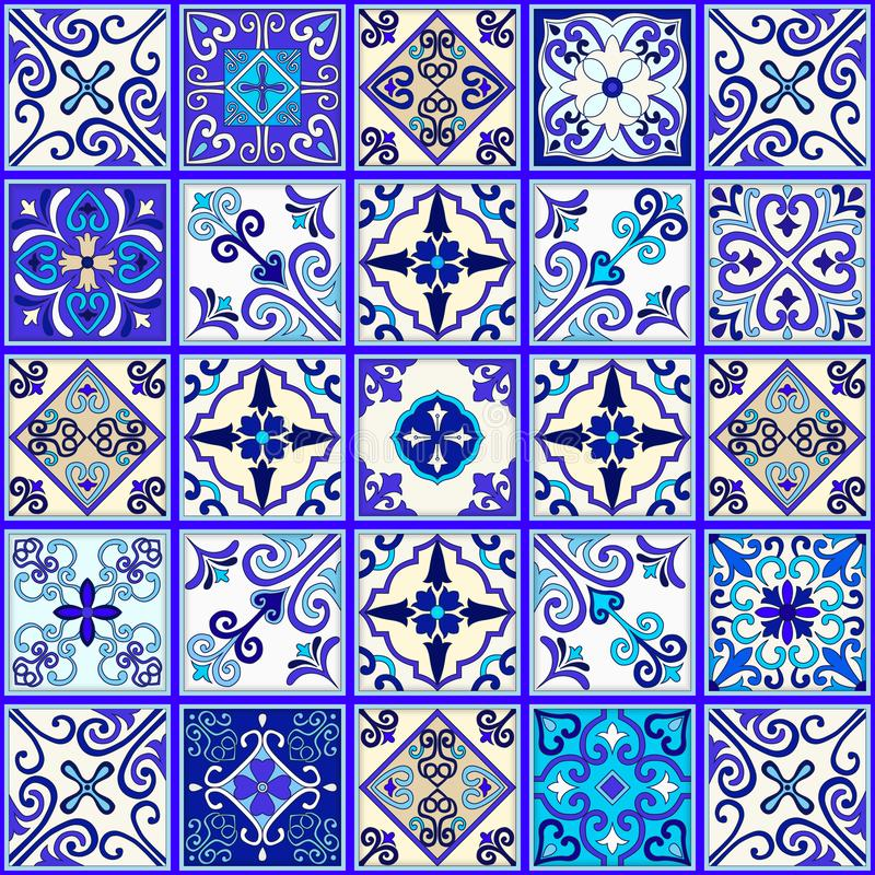 Portuguese tiles seamless pattern vector with blue and white ornaments. Talavera, azulejo, mexican, spanish or arabic motifs. royalty free illustration