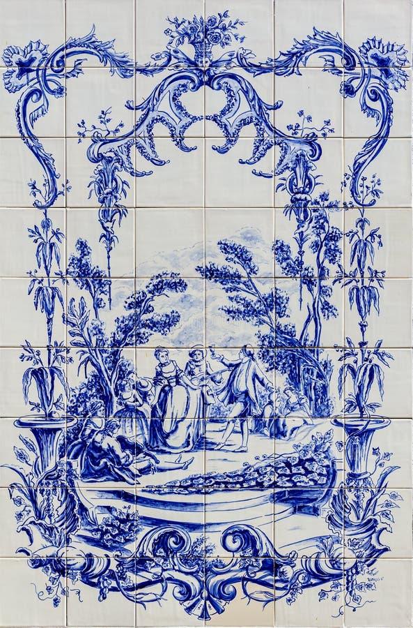 Portuguese traditional hand painted tin-glazed ceramic tilework, Azulejo stock photography