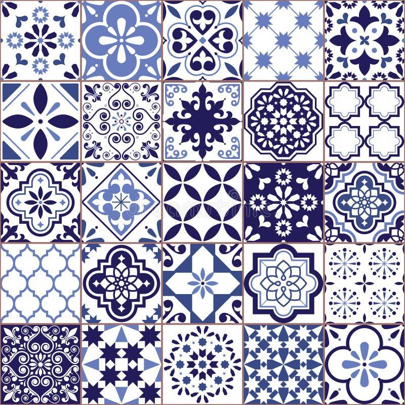 Portuguese vector Azulejo tile seamless pattern, Lisbon retro old tiles mosaic, Mediterranean repetitive navy blue textile design. Ornamental pretty background stock illustration