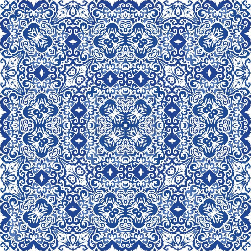 Portuguese vintage azulejo tiles stock illustration