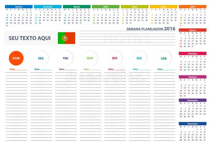 Calendar Planner Vector Free : Portuguese week planner calendar vector design