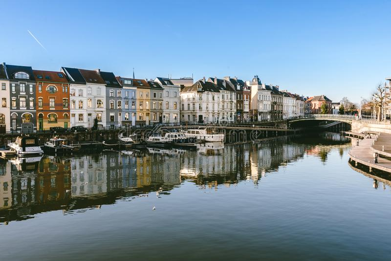Portus Ganda Marina in Gent royalty-vrije stock afbeeldingen