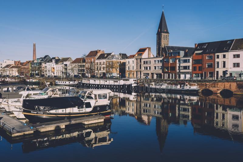 Portus Ganda Marina in Gent stock foto