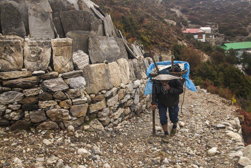 Portvakter i byn av Pangboche arkivbilder