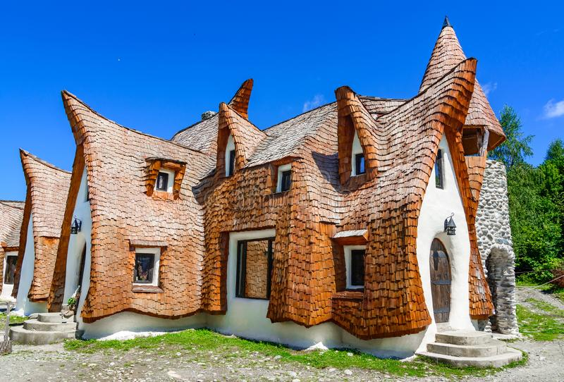 Fairytale clay castle of Porumbacu village, in Sibiu Region, Rom. Porumbacu ,Sibiu, Romania- July 19, 2017: Fairytale clay castle of Porumbacu village, in Sibiu stock photography