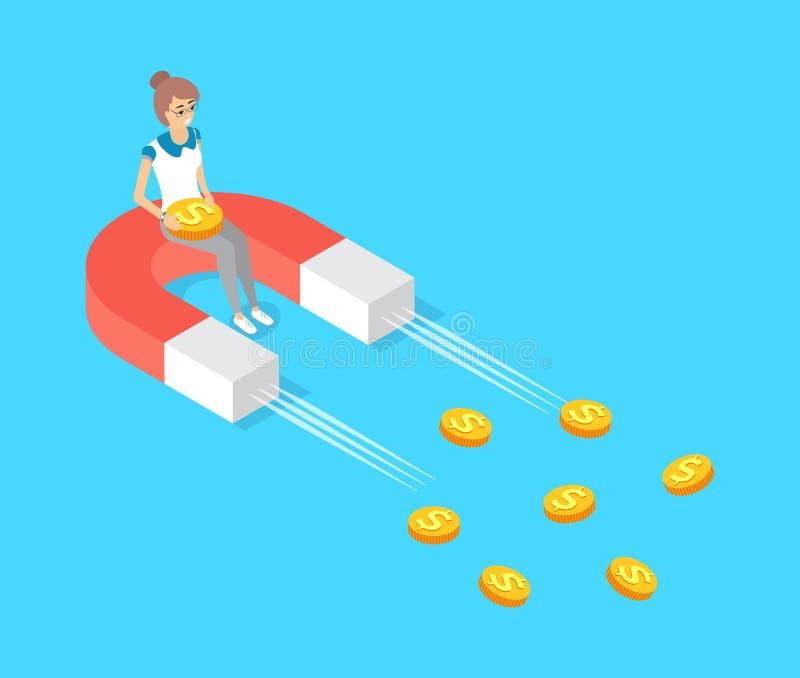 Poruszający magnes Przyciąga Złocistą pieniądze dolara gotówkę ilustracji