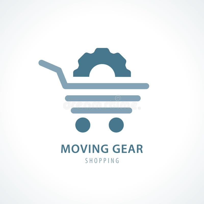 Poruszająca przekładnia zakupy symbolu ikona ilustracja wektor