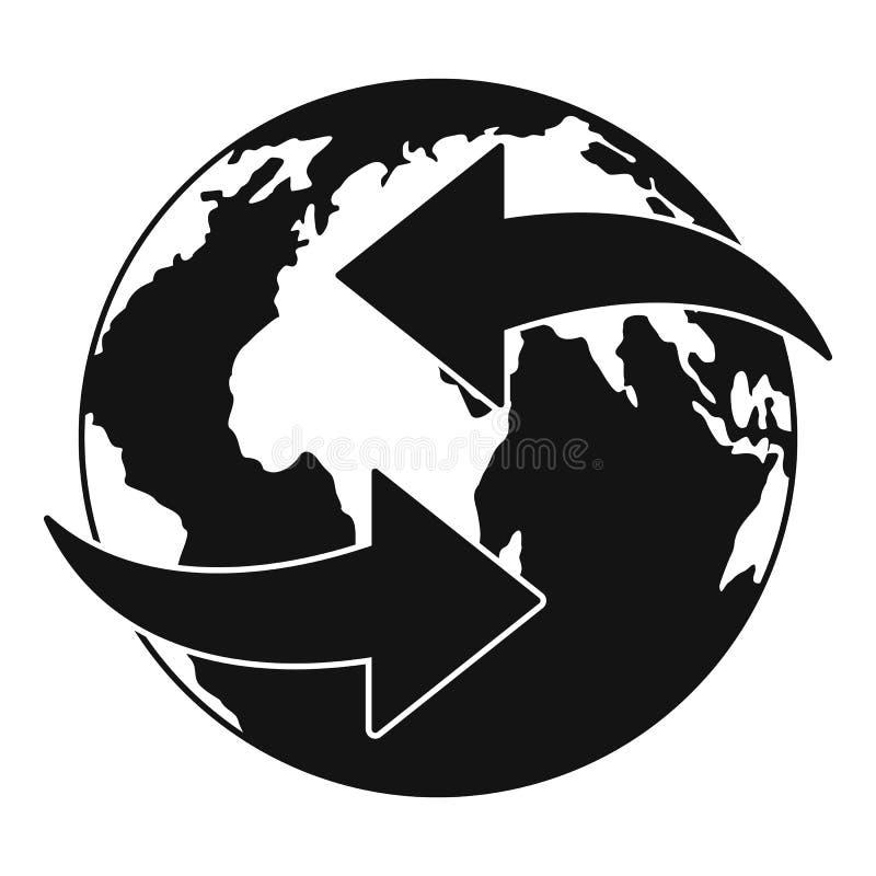 Poruszająca ziemska ikona, prosty styl ilustracja wektor