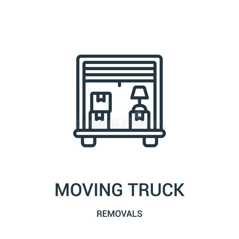 poruszający ciężarowy ikona wektor od usunięć inkasowych Cienka kreskowa chodzenie ciężarówki konturu ikony wektoru ilustracja Li ilustracja wektor