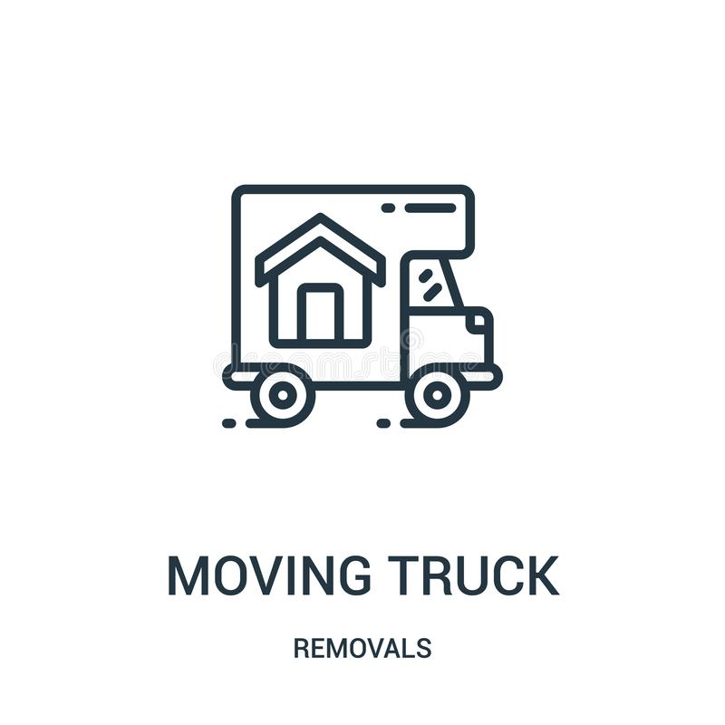 poruszający ciężarowy ikona wektor od usunięć inkasowych Cienka kreskowa chodzenie ciężarówki konturu ikony wektoru ilustracja Li royalty ilustracja