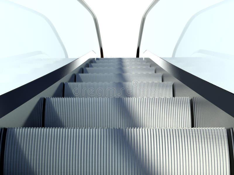 Poruszający eskalatorów schodki, nowożytny budynek biurowy ilustracji