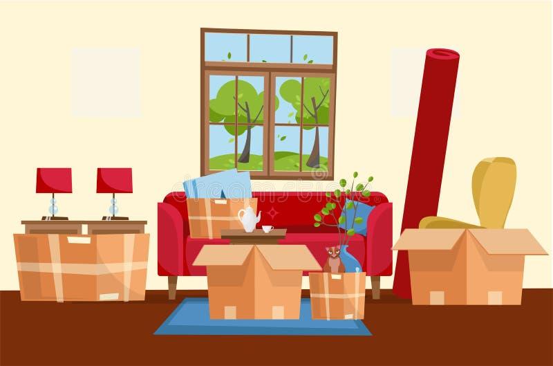 Poruszający pojęcie domowy wnętrze z Papierowymi kartonami Rusza? si? pude?ka W nowym domu Rodzina przenosz?ca nowy dom Pakunek d royalty ilustracja