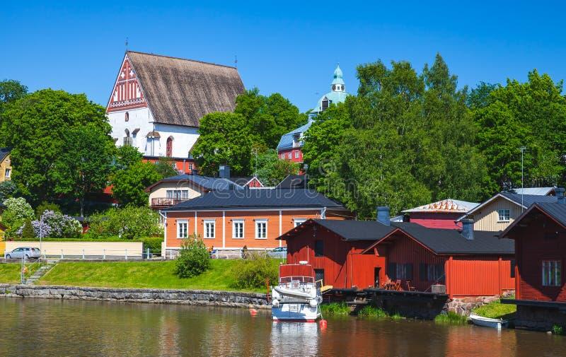 Porvoo Altstadt, Sommerlandschaft stockfotografie