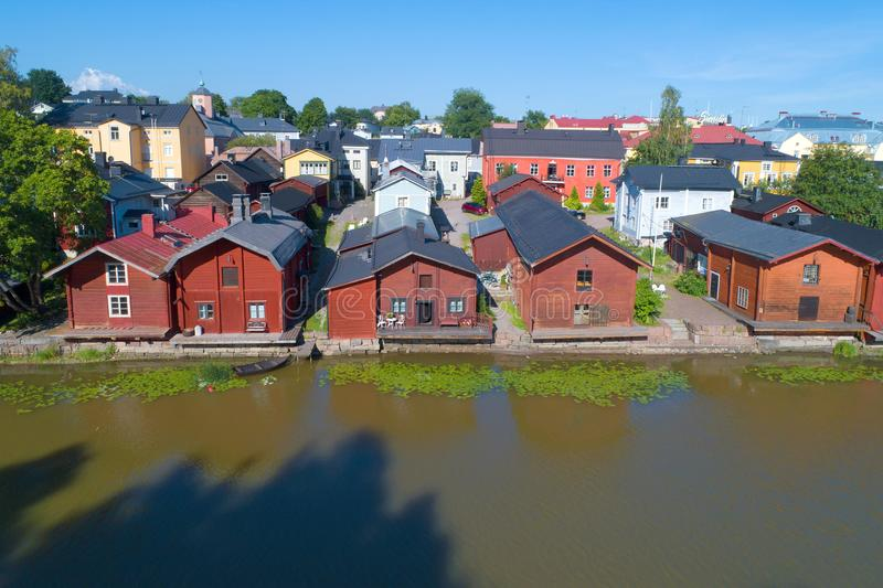 A view of the old coastal barns in the old town. Porvoo stock photo