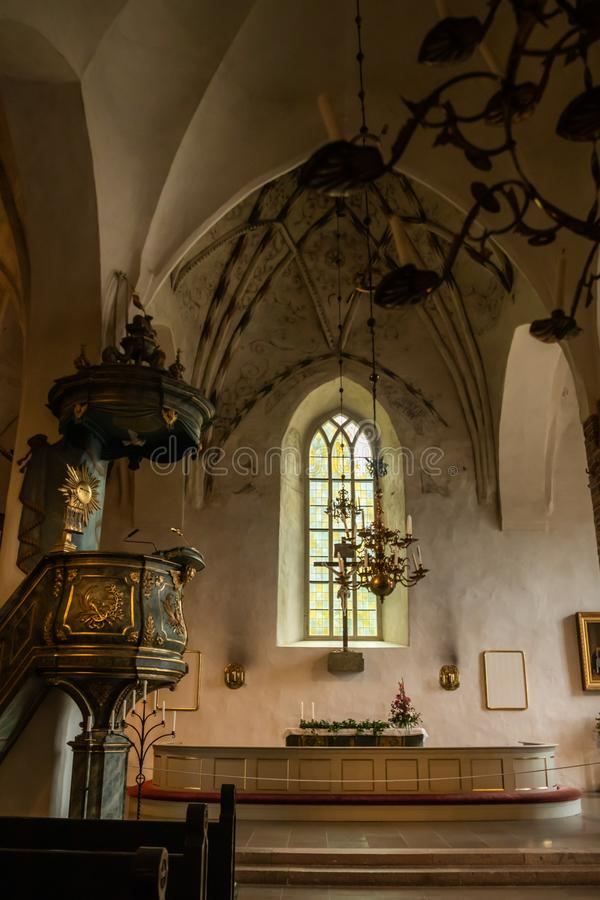 Porvoo, Finland - 2 October 2019: Interior of Porvoo Cathedral.  stock photos
