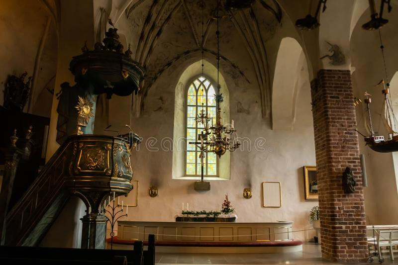 Porvoo, Finland - 2 October 2019: Interior of Porvoo Cathedral.  royalty free stock photos