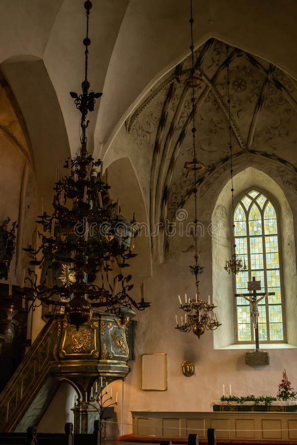 Porvoo, Finland - 2 October 2019: Interior of Porvoo Cathedral.  royalty free stock image