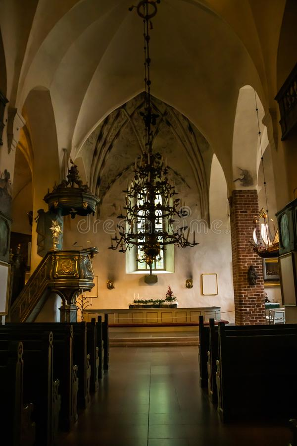 Porvoo, Finland - 2 October 2019: Interior of Porvoo Cathedral.  royalty free stock photography