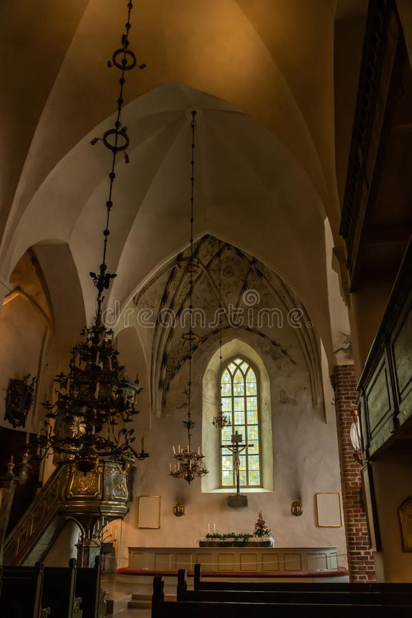 Porvoo, Finland - 2 October 2019: Interior of Porvoo Cathedral.  royalty free stock images