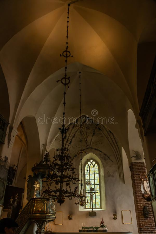 Porvoo, Finland - 2 October 2019: Interior of Porvoo Cathedral.  royalty free stock photo