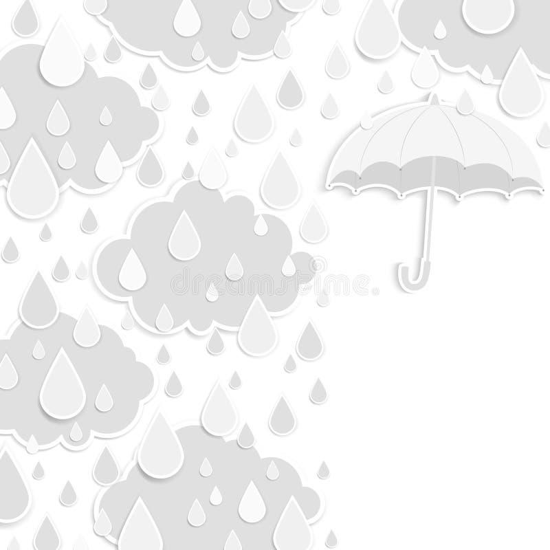 Pory deszczowa tło z raindrops i chmurami royalty ilustracja