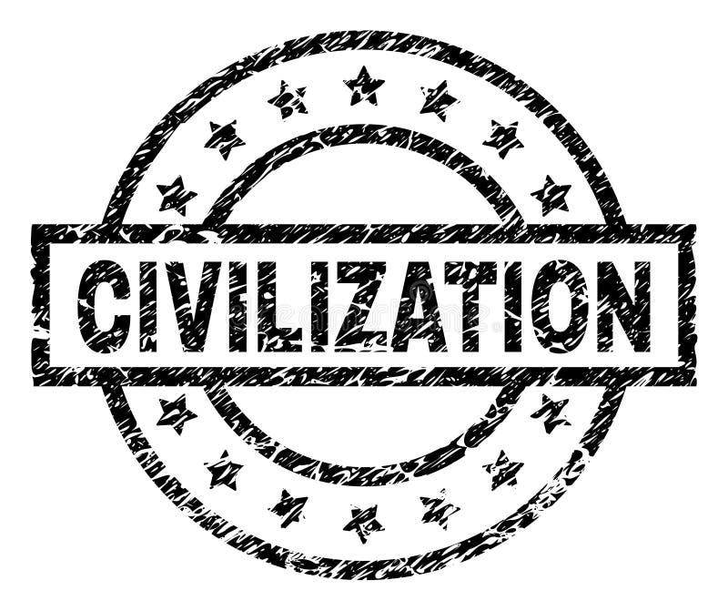 Porysowana Textured cywilizacja znaczka foka ilustracja wektor