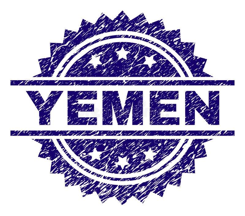Porysowana Textured JEMEN znaczka foka ilustracja wektor