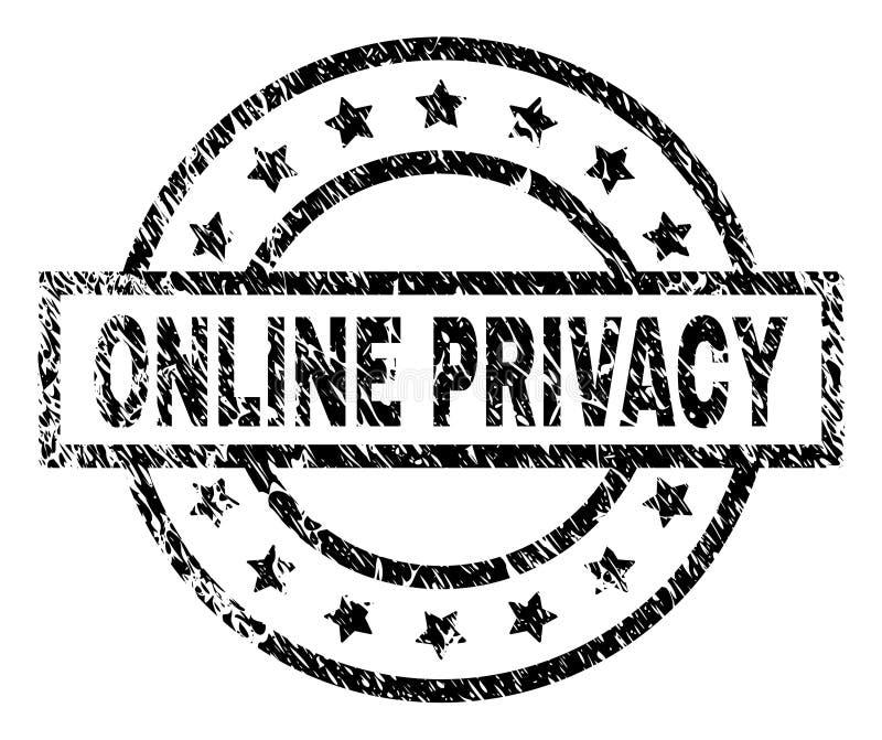 Porysowana Textured ONLINE prywatność znaczka foka ilustracja wektor