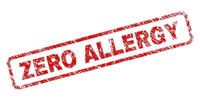 Porysowana ZERO alergia Zaokrąglający prostokąta znaczek ilustracji