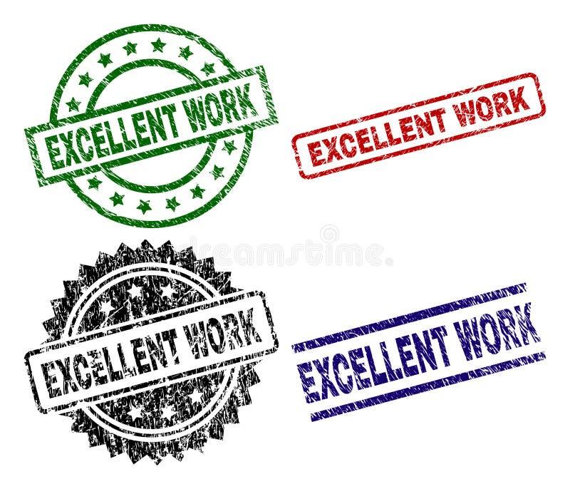 Porysowani Textured ZNAKOMICI pracy foki znaczki ilustracja wektor