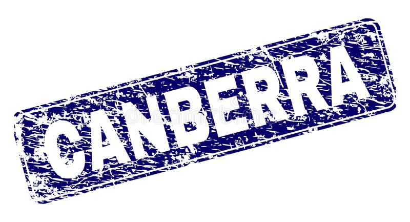 Porysowany CANBERRA Obramiający Zaokrąglający prostokąta znaczek royalty ilustracja